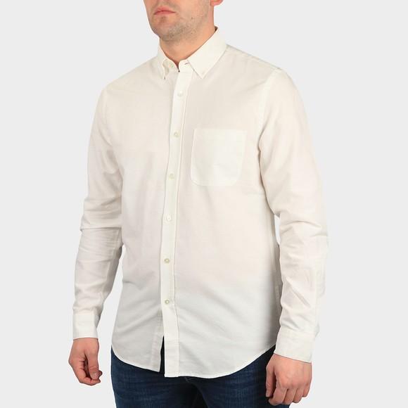 Portugese Flannel Mens Off-White Belavista Plain Long Sleeve Shirt