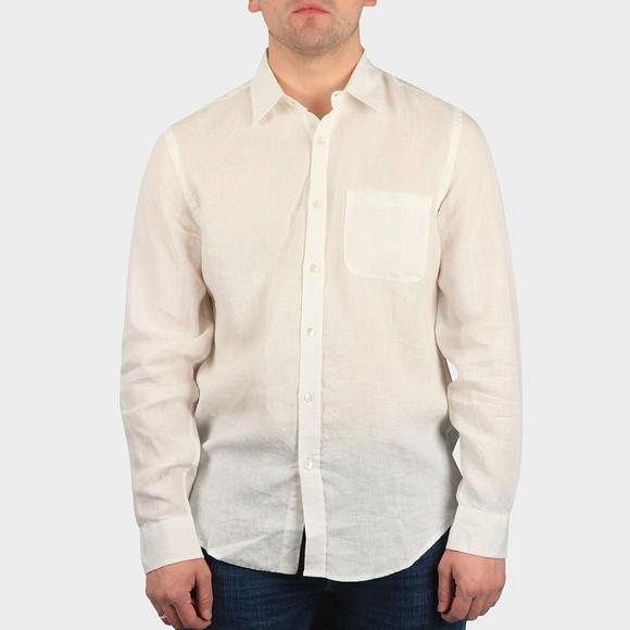 Portugese Flannel Mens White Linen Long Sleeve Shirt
