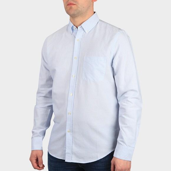 Portugese Flannel Mens Blue Belavista Short Sleeve Stripe Shirt