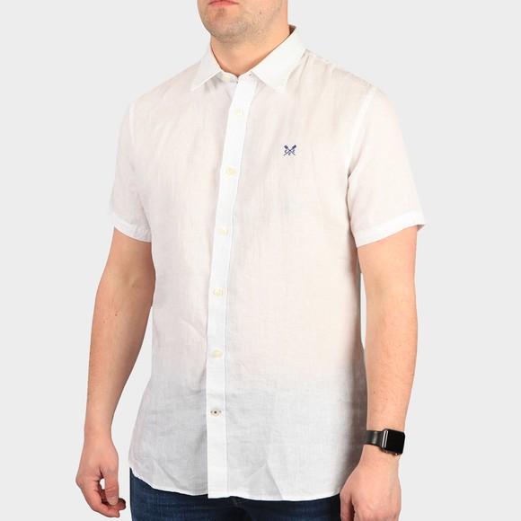 Crew Clothing Company Mens White S/S Linen Shirt