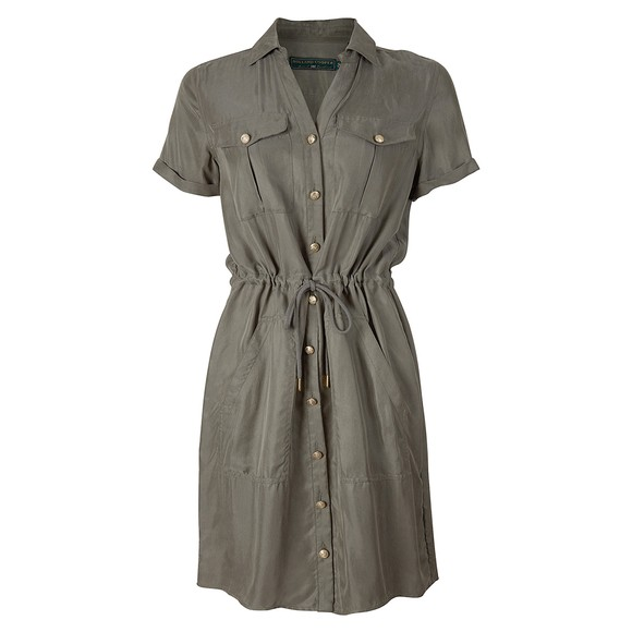 Holland Cooper Womens Green Military Shirt Dress