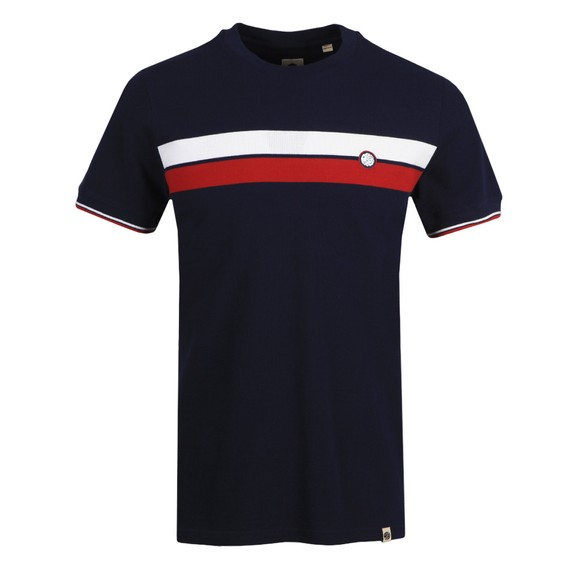 Pretty Green Mens Blue Chest Stripe T-Shirt
