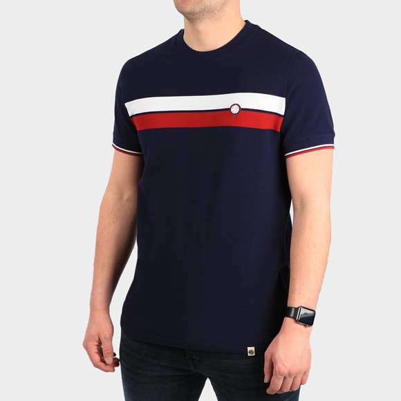 Pretty Green Mens Blue Chest Stripe T-Shirt main image