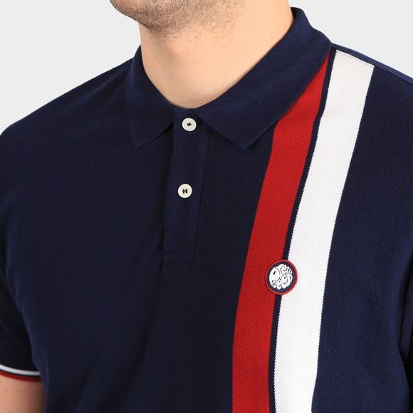 Pretty Green Mens Blue Colour Block Polo Shirt main image