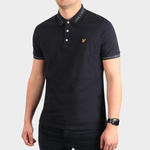 Lyle and Scott Mens Blue Branded Collar Polo Shirt main image
