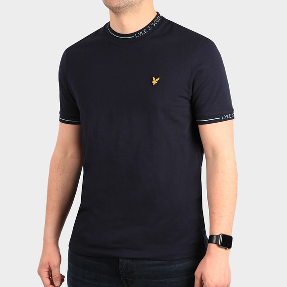 Lyle and Scott Mens Blue Branded Ringer T-Shirt main image