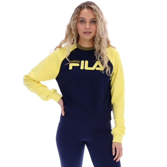 Fila Womens Blue Riccarda Colour Block Sweatshirt
