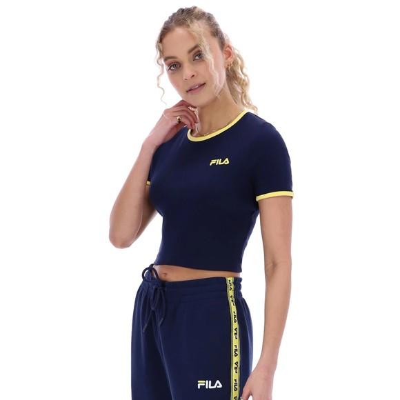 Fila Womens Blue Perla Ribbed Cropped T Shirt main image