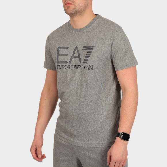 EA7 Emporio Armani Mens Grey Large Logo Hex T Shirt