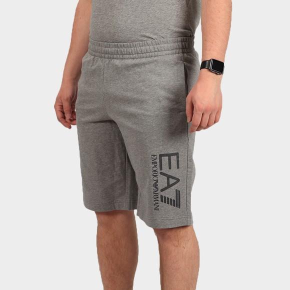 EA7 Emporio Armani Mens Grey Hex Logo Jersey Short