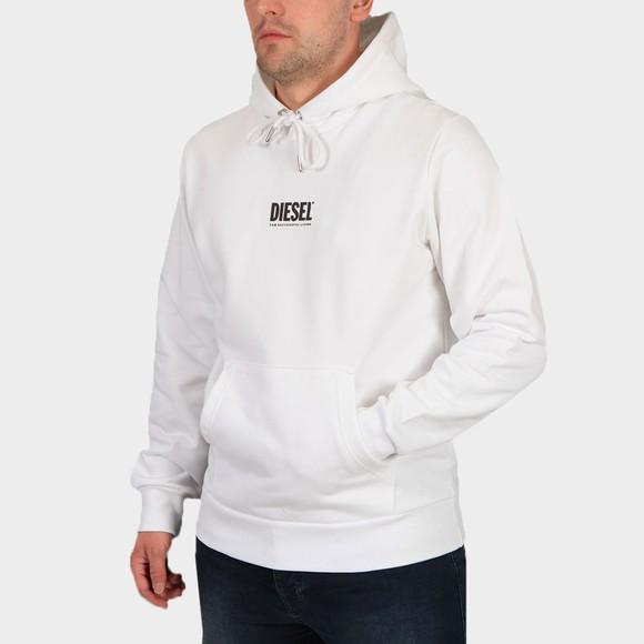 Diesel Mens White Girk Centre Logo Hoody
