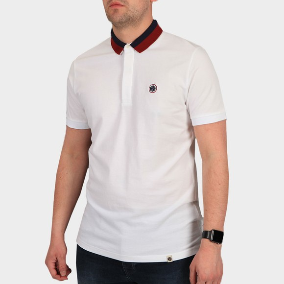 Pretty Green Mens White Tilby Contrast Collar Polo Shirt main image