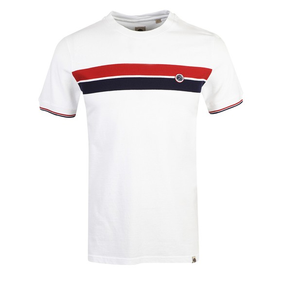 Pretty Green Mens White Chest Stripe T-Shirt main image