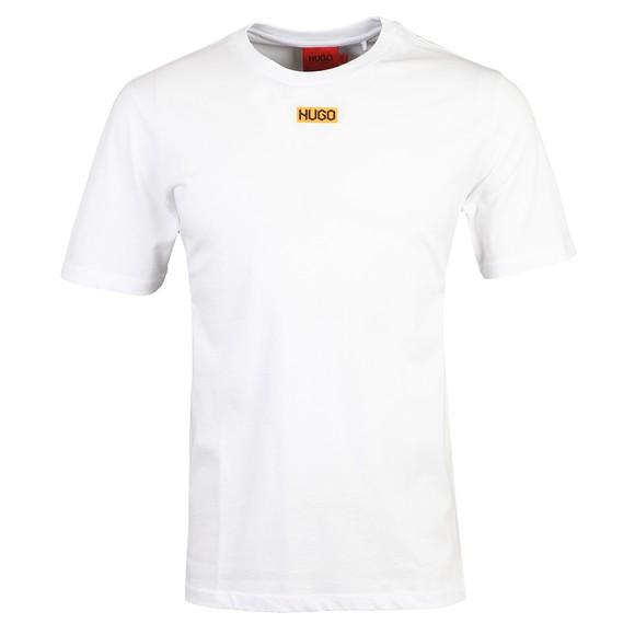 HUGO Mens White Durned212 Centre Logo T Shirt