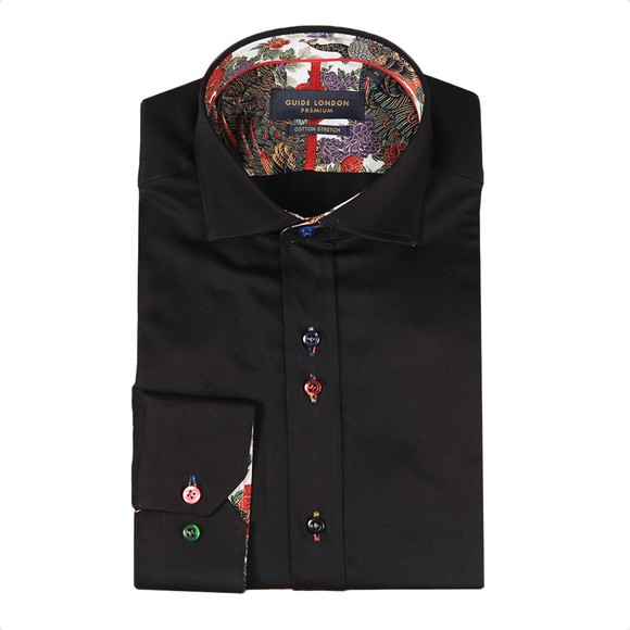 Guide London Mens Black Plain Shirt main image