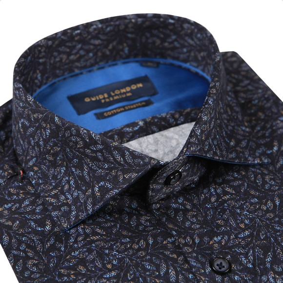 Guide London Mens Blue Multi Leaf Shirt main image
