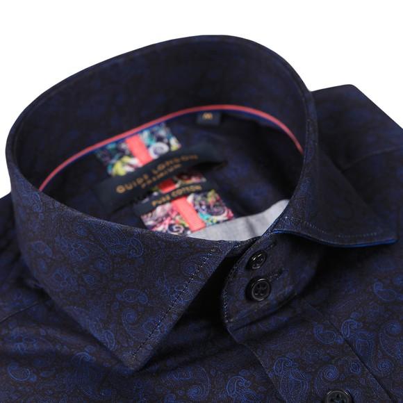 Guide London Mens Blue Paisley Print Shirt main image