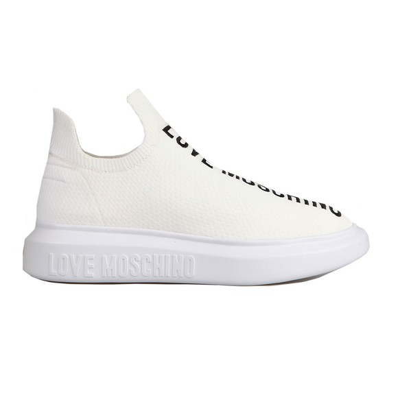 Love Moschino Womens White Low Sock Trainer