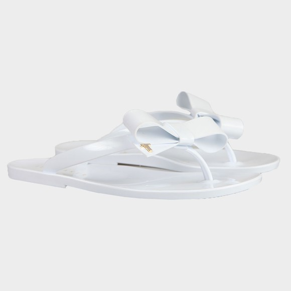 Ted Baker Womens White Bejouw Bow Detail Flip Flop