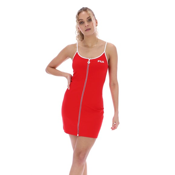 Fila Womens Red Carluccia Zip Through Body Con Dress