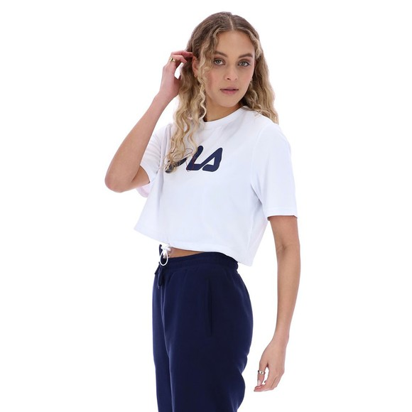 Fila Womens White Nicoletta Crop Logo T Shirt