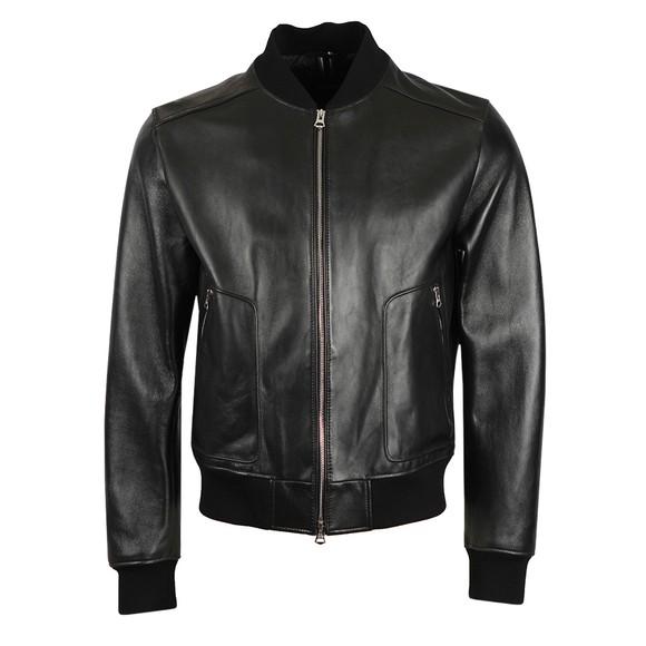BOSS Mens Black Formal Nipet Leather Bomber