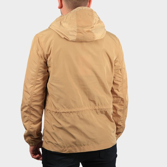 Pretty Green Mens Beige Zip Though Nylon Hooded Jacket main image