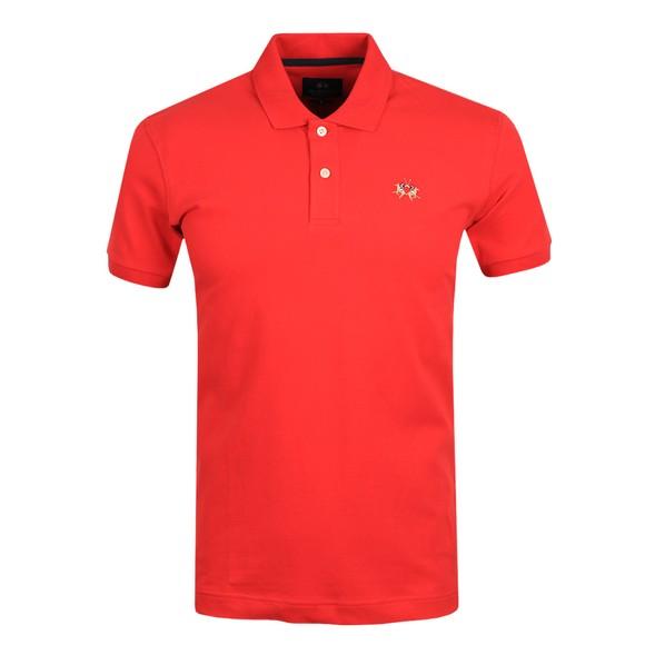 La Martina Mens Red Classic Slim Fit Polo Shirt