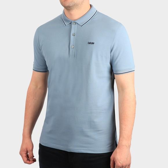 HUGO Mens Blue Dinoso212 Tipped Polo Shirt