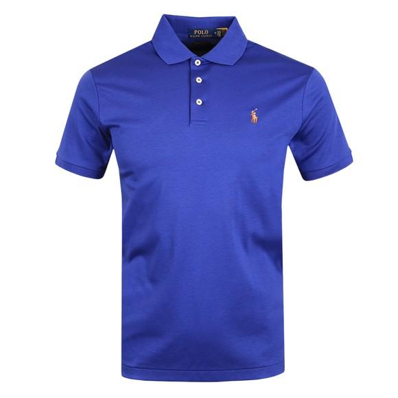 Polo Ralph Lauren Mens Blue Custom Slim Fit Pima Polo Shirt