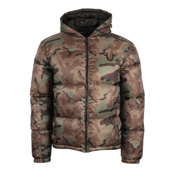 True Religion Mens Green Core Camo Puffer