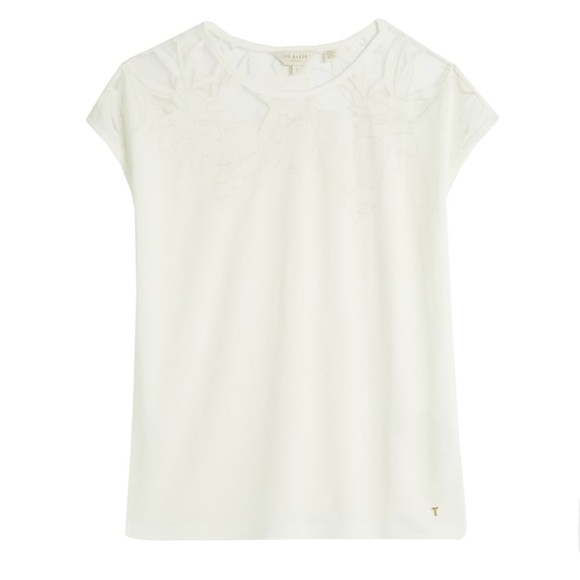Ted Baker Womens White Burnout Top