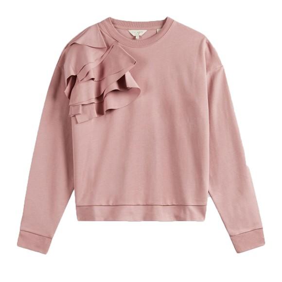 Ted Baker Womens Pink Ozai Sweatshirt With Ruffles