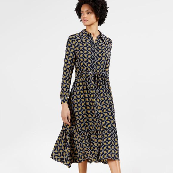 Ted Baker Womens Blue Kwalaa Modernity Printed Long Sleeve Dress