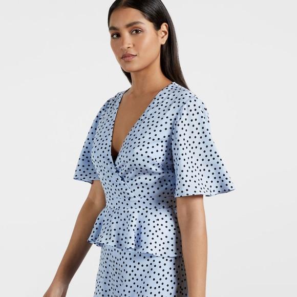 Ted Baker Womens Blue Mabbel Dotty Peplum Tea Dress