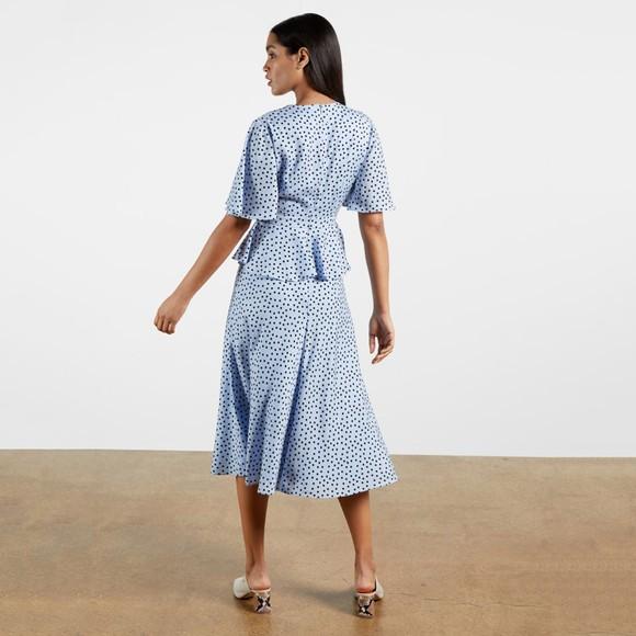Ted Baker Womens Blue Mabbel Dotty Peplum Tea Dress main image