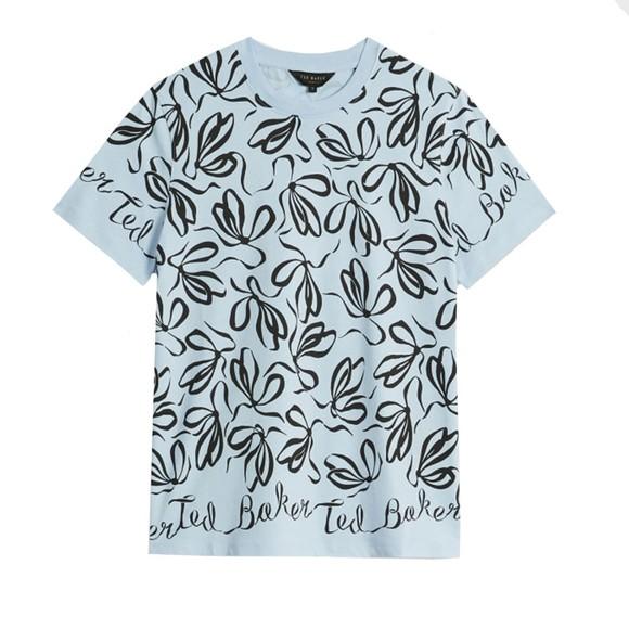 Ted Baker Womens Blue Modana Bow Printed T-Shirt