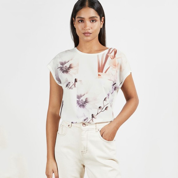 Ted Baker Womens White Lylie Vanilla Printed Top