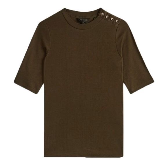 Ted Baker Womens Green Jasmyhn Rib T-Shirt