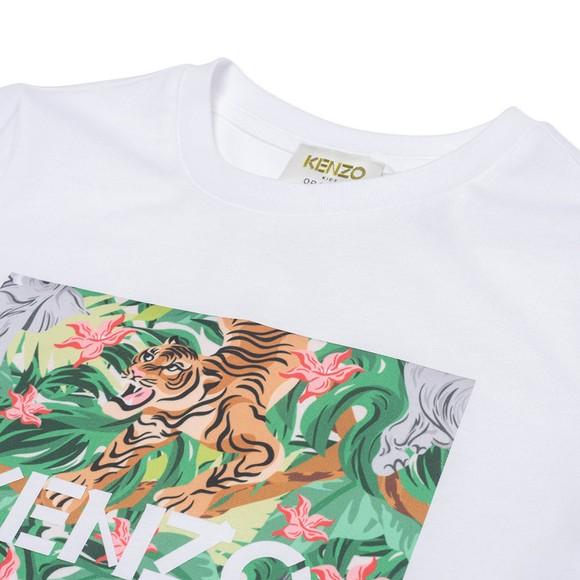 Kenzo Kids Girls White K15087 Tiger & Elephant T Shirt