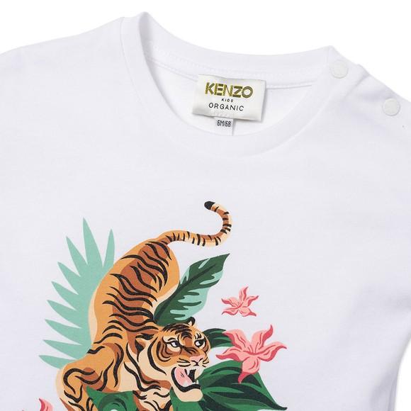 Kenzo Kids Girls White K15099 Tiger & Lily T Shirt