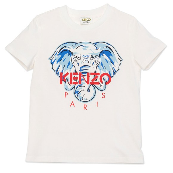 Kenzo Kids Boys White Elephant Logo T Shirt main image