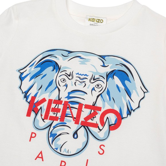 Kenzo Kids Boys White Elephant Logo T Shirt