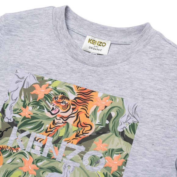 Kenzo Kids Boys Grey K25101 Tiger & Elephant T Shirt