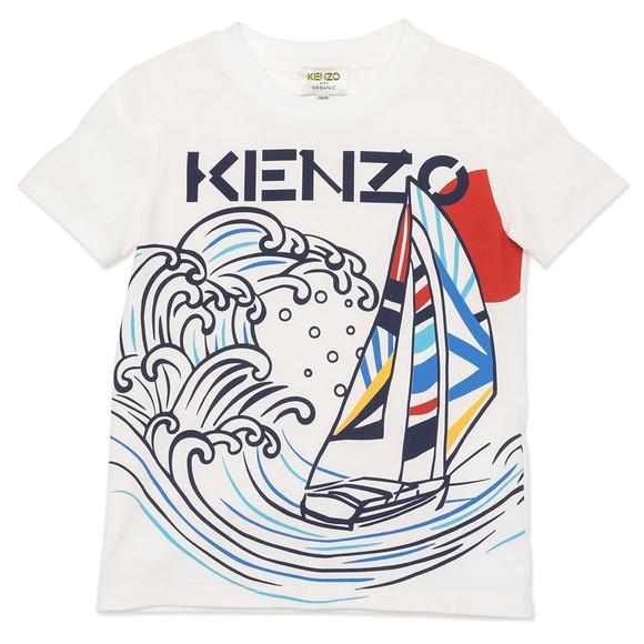 Kenzo Kids Boys White K25098 Boat Logo T Shirt