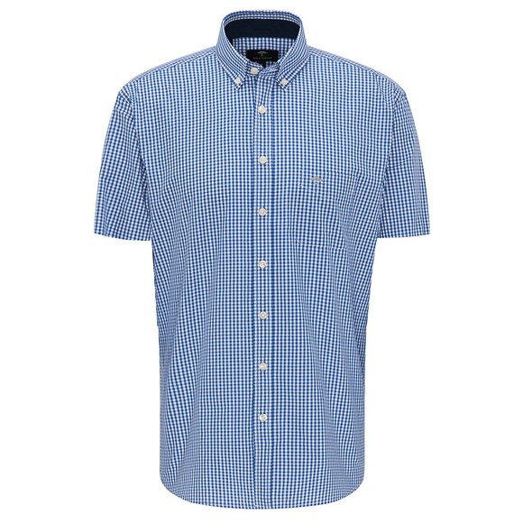 Fynch Hatton Mens Blue Summer Twill Short Sleeve Shirt
