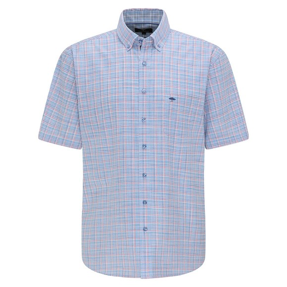 Fynch Hatton Mens Pink 8111 Summer Check Short Sleeve Shirt