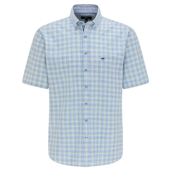 Fynch Hatton Mens Green 8111 Summer Check Short Sleeve Shirt