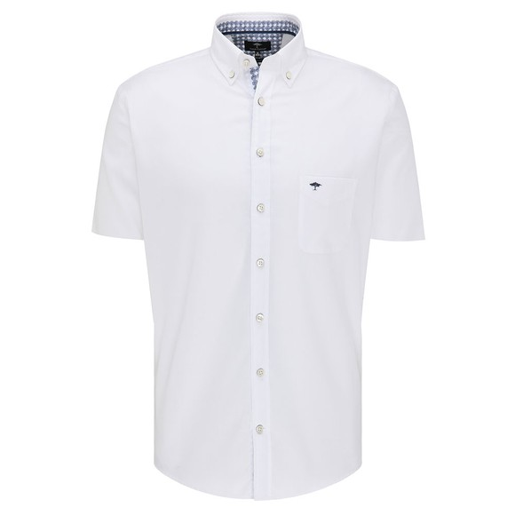 Fynch Hatton Mens White Summer Structure Short Sleeve Shirt