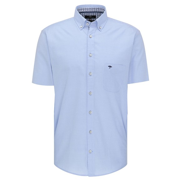 Fynch Hatton Mens Blue Summer Structure Short Sleeve Shirt